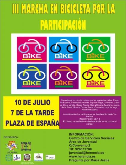 III marcha en bicicleta por la participacion se pospone